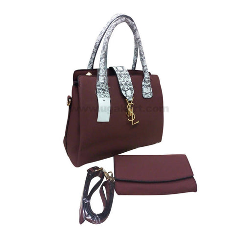 YSL Set of Two Maroon Women'S Hand Bag