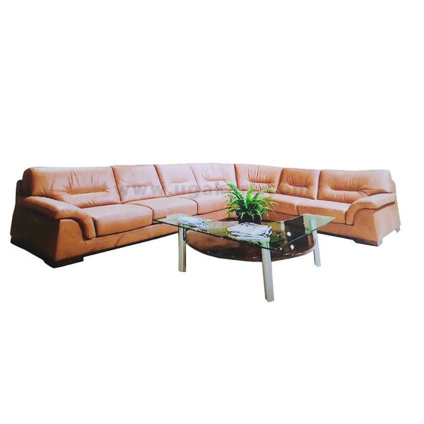 Brown L Shaped 7 Seater Sofa High Density With Fiber Cusions-7 Seaters
