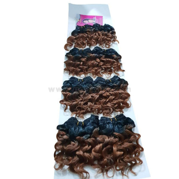 Human Hair-Black & Brown -8 Pc With 6 Inch