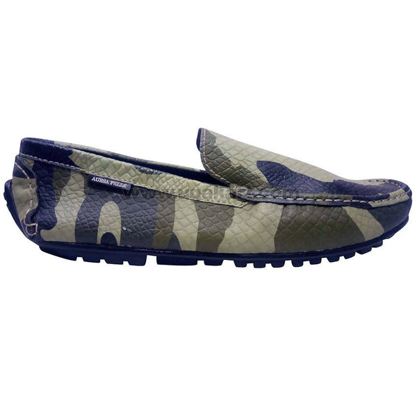 Aursa Pelle Men's Army Camouflage Printed Moccasins