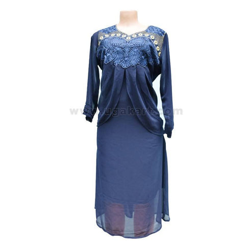 Kurti / Indian Dress With Full Embroidery Work - Dark Blue