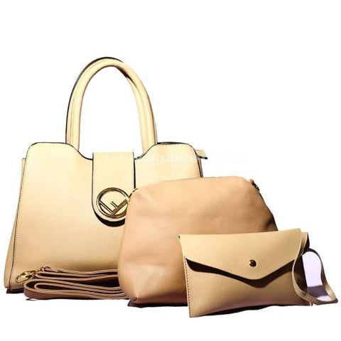 Sepia Tan 3Pcs Hand Bag