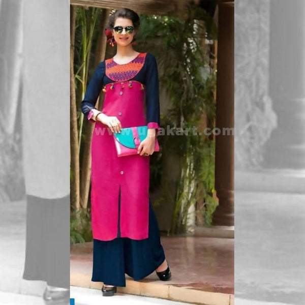 Black And Pink Long Kurti - Size XXL