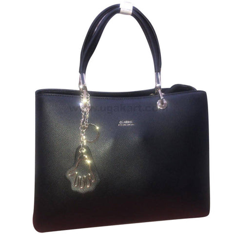 Classic Ladies Black Leather Hand Bag