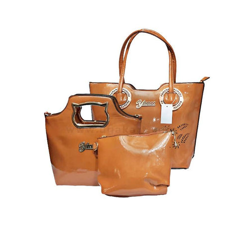 3-In-1 Yuess Leather Handbag - Brown