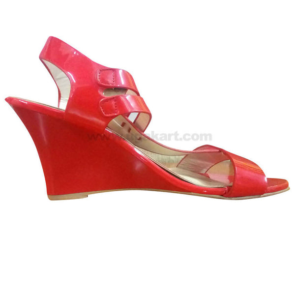 Red Ankle Strap High Heels For Women
