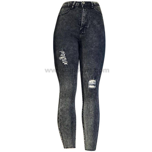 Black & White Shade High Waisted Women's Patchy Jeans