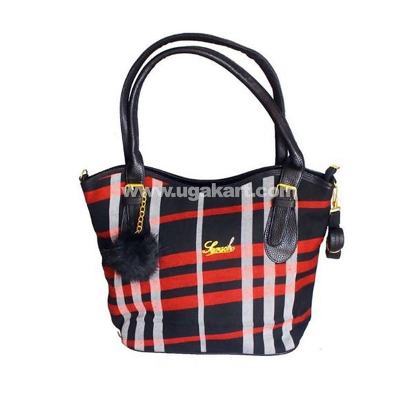 Plaid Leather Tote Handbag For Women - Red, Black