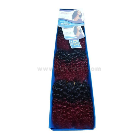 Curl Hair Weave-Black And Maroon-4 Pc With 6 Inch