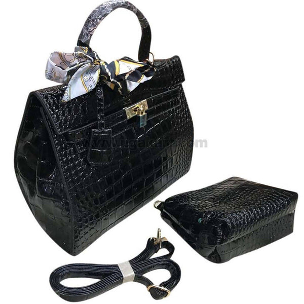 2Pcs Faux Leather Black and Shine Hand Bag