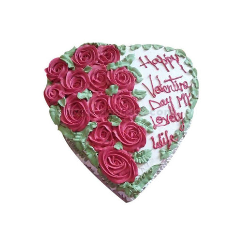 Heart Shaped With Message White Forest Fresh Cream Cake