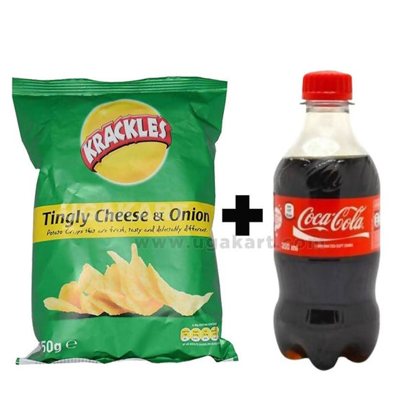 Krackles Tingly Cheese & Onion 150 gm + Coca Cola 350ml