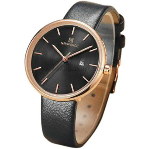 Naviforce Bronze & Black Leather Strap Men's Watch