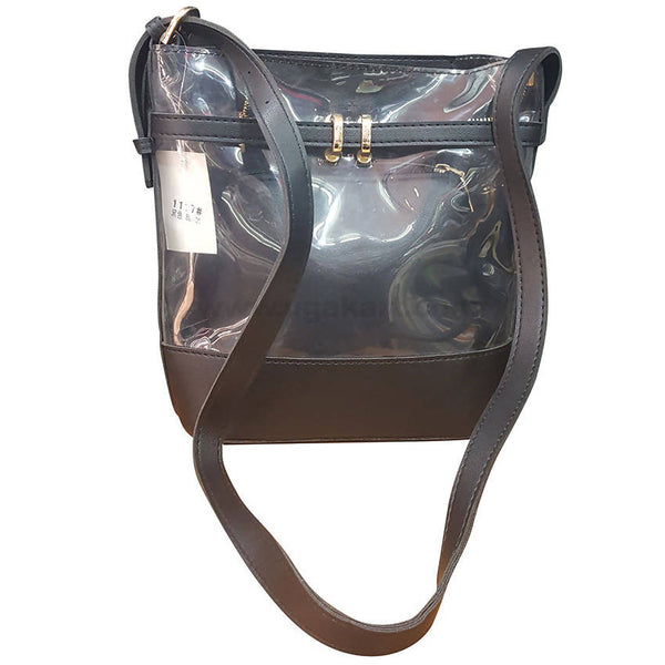 Black Transparent 2 in 1 Ladies Hand Bag