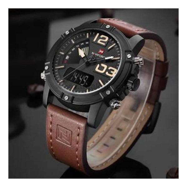 Leather Strapped Dual Water Proof Men's Watch