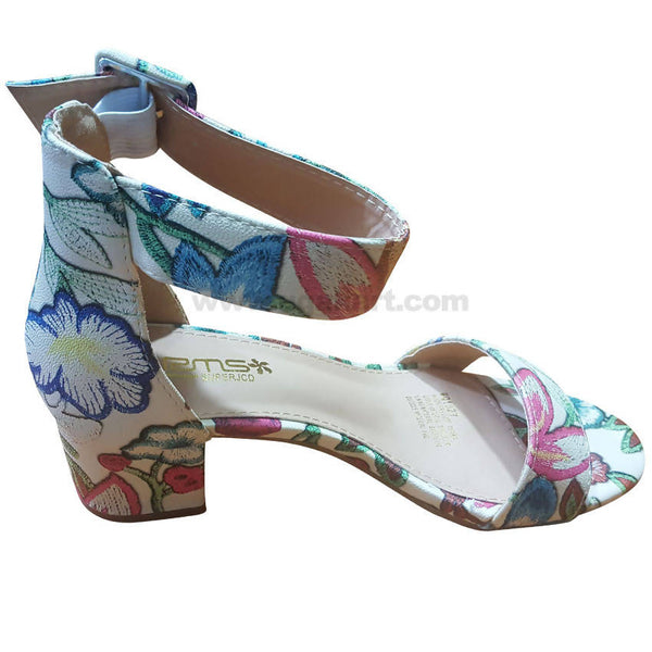 Women's Floral Multi Color Heel Ankle Strap Shoes