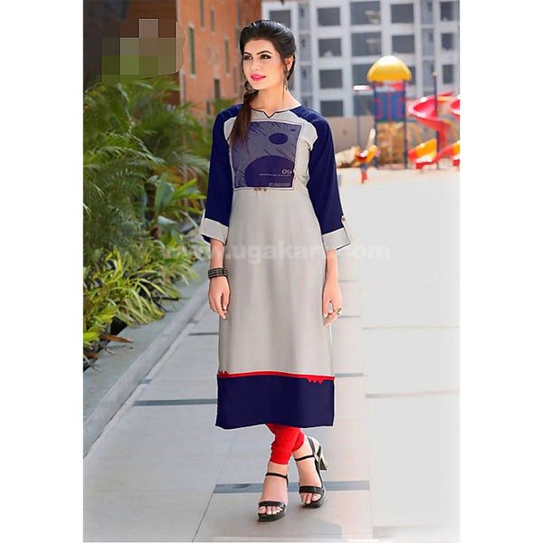Top Kurti Soft Reyon Material Blue and Grey With Red Legging- XXL (Bust Size - 42)