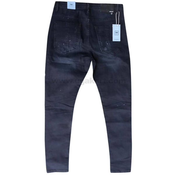 Dark Blue Faded Distressed Men's Jeans