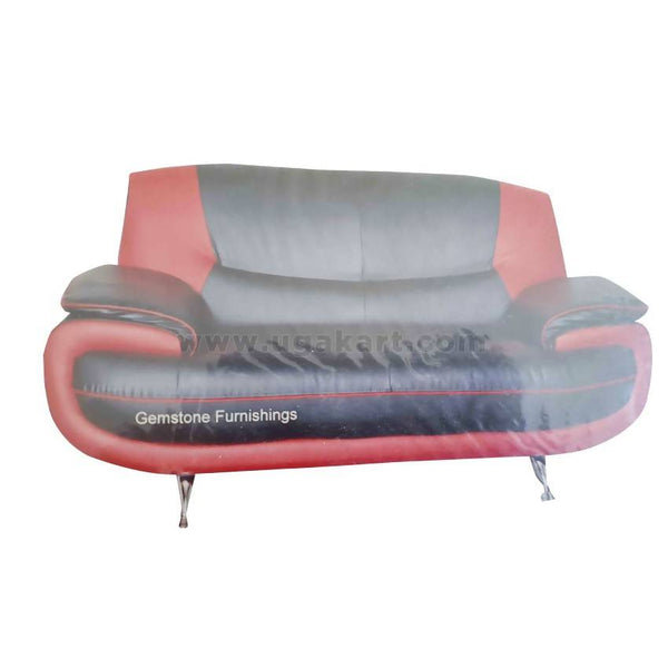 Red And Black Leather Sofa High Density With Fiber Cushions-Size(2-2-1)