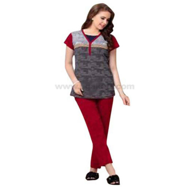 Women's Night Suit_Grey and Maroon