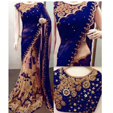 Dark Blue With Cream Color Full Net Material With Work Blouse pc With Full Work