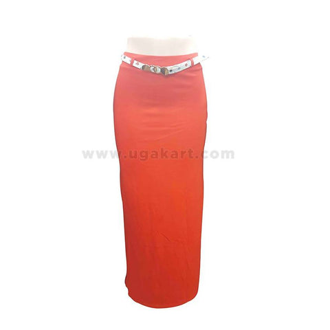 Orange Long Ladies Skirt With White Belt