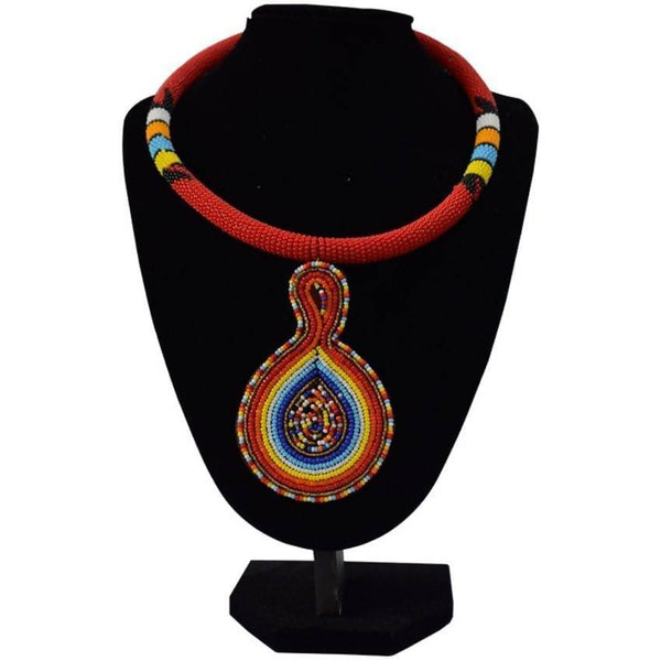 Multicoloured Red African Necklace