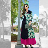 Long Kurti In Black, Pink And Green Color - Size XXL