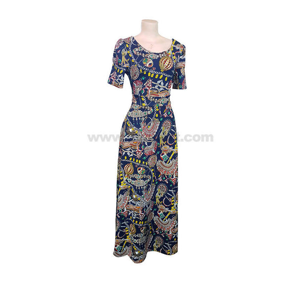 Multi Colour Flower Long Dresses-Neviblue-Size M,L,XL,XXL,XXXL