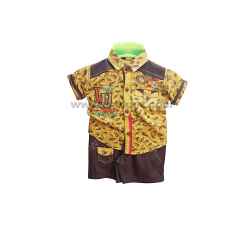 Yellow T-Shirt And Brown Shorts For Boy_2mnth to 6mnths