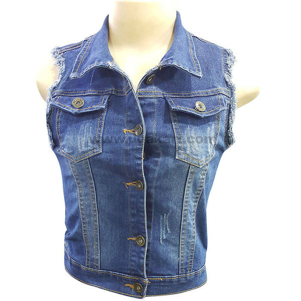Women's Casual Denim Sleeveless,Vintage Button Down Jean Shirt