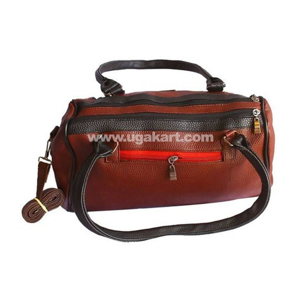 Duffle Leather Handbag For Women - Maroon