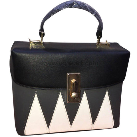 Black & White with ZigZag Design Ladies Leather Hand Bag