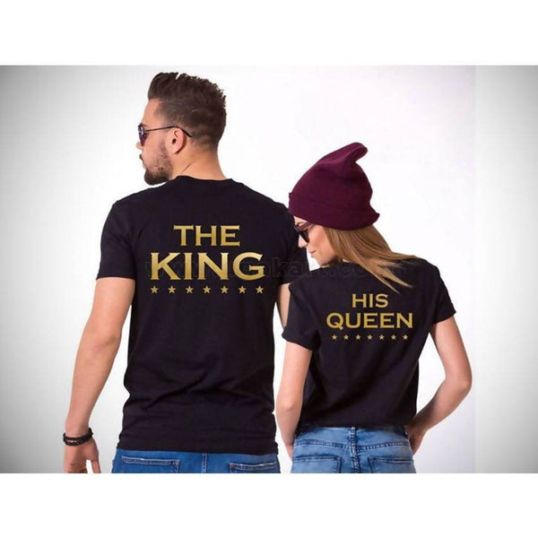 The King And His Queen Couple Black T-Shirts