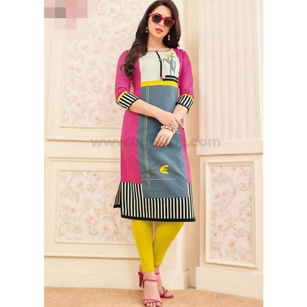 Top Kurti Cotton Material With Pink Legging Full Set-XXL (Bust Size - 50)