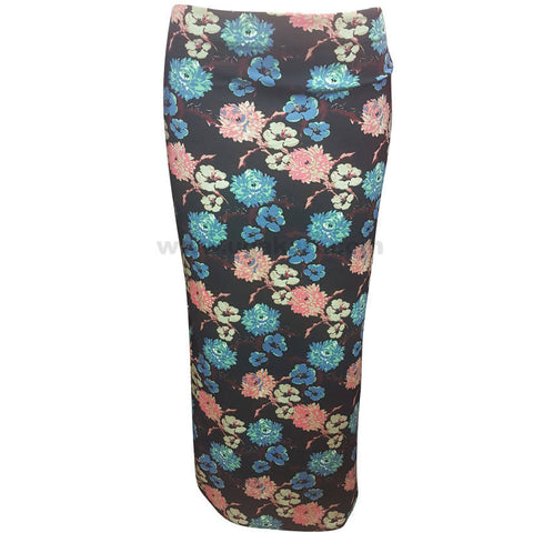 Blue and Pink Floral Design Skirt (Size : S,M,L,XL)