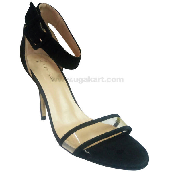 Black High Heels Single Belt Sandal For Women