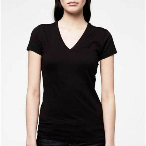 WOMEN'S STRETCHER V-NECK T-SHIRT - BLACK