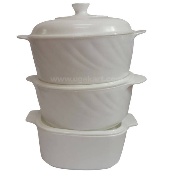 Three Pcs Ceramic Soup Bowl With Lid