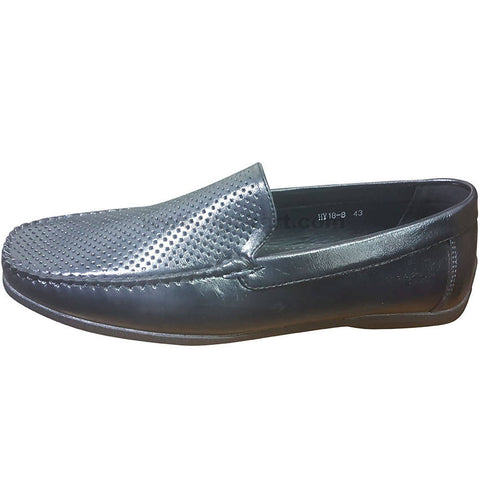 Men's Black Mesh-Like Top Loafers