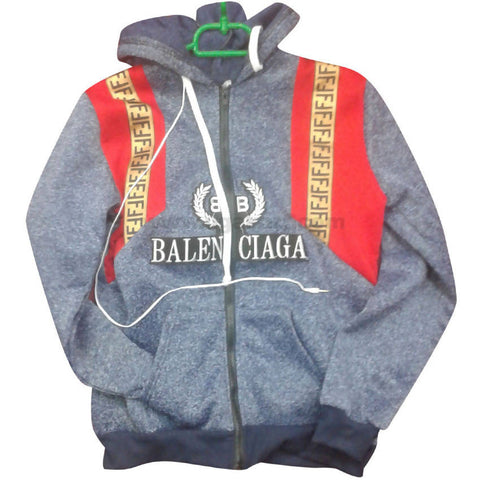 Grey & Red BalenCiaga Hoodie Jumper (FreeSize)