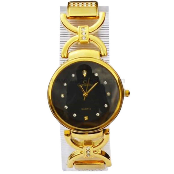 Quantz Designed Black Dial Analog Women's Watch