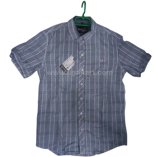 Gray Half Sleeve Check Shirt For Men