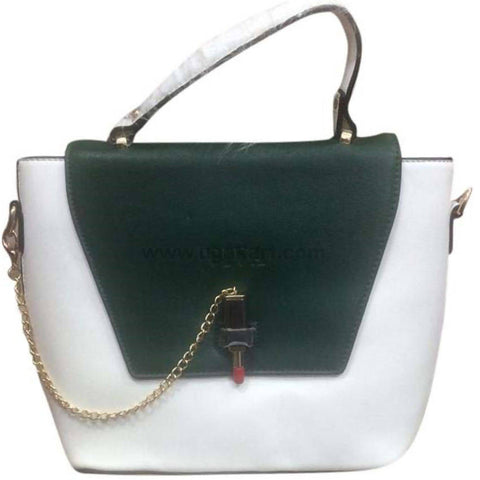 White and Green Hand Bag