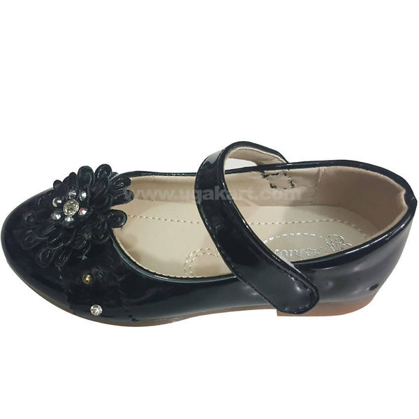 Black Flower soft Shoes for Girls(Size-26 to 30)