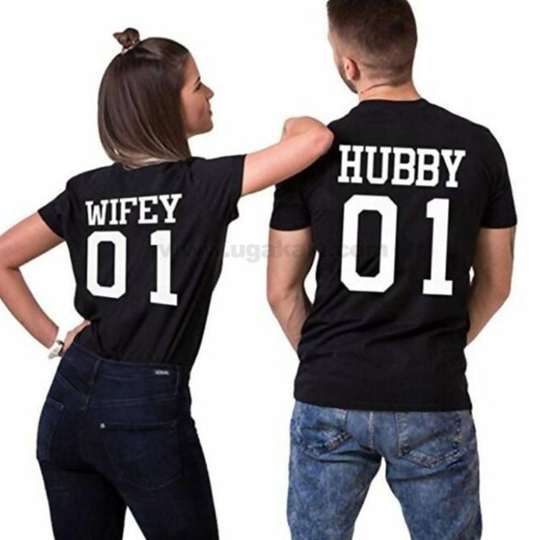 Black Wifey & Hubby Couple T-Shirts (Size: S,M,L,XL)