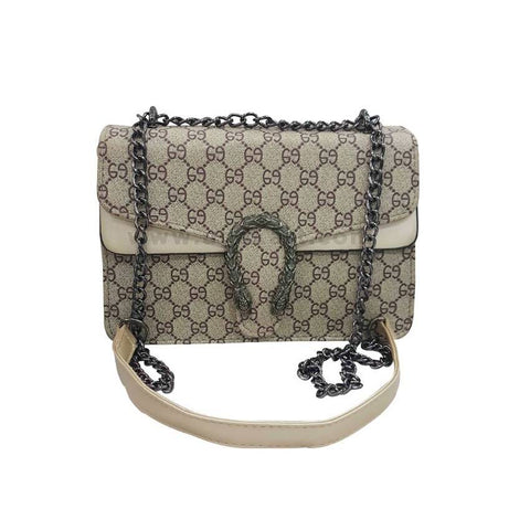 Brown and Cream Womens Cross Bag