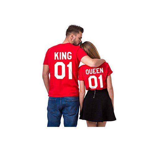 Red And White Printed King And Queen Couple T-Shirts