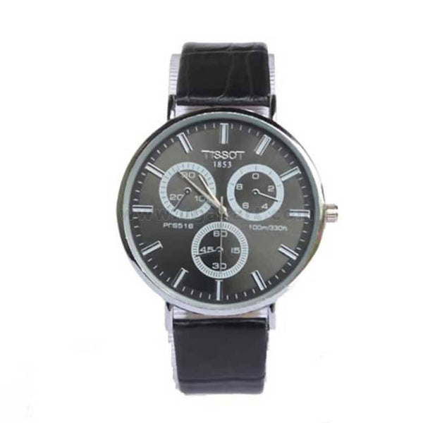 Tissot 1853 Leather Strap Men's Watch - Black