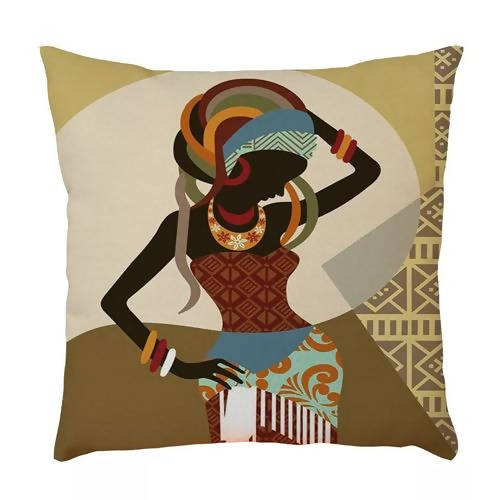 Linen Multi-color Fabric African Drum Print Cushion Pillow Case 45x45cm